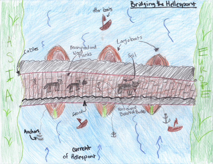 Student reconstruction of Xerxes' bridge across the Hellespont